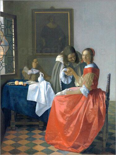 Leinwandbild Das Mädchen mit dem Weinglas - Jan Vermeer