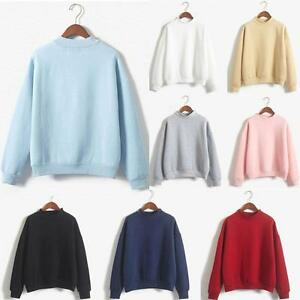 Femmes-Manches-Longues-a-Capuche-Sweat-shirt-Manteau-Casual-Pullover-Tops-Solide