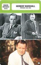 FICHE CINEMA GB /USA Herbert Marshall  Acteur Actor Période 1939-1965