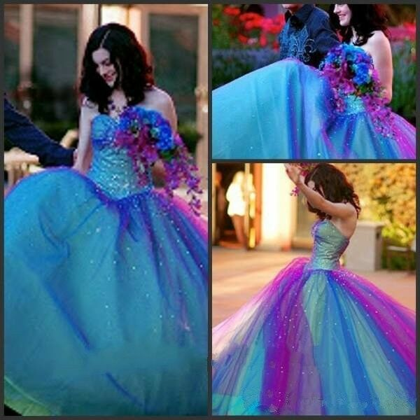 Tulle Wedding Dresses Ball Gown Sparking Beaded Colored Rainbow ...