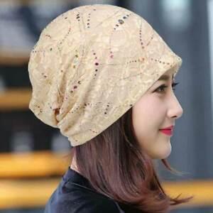 6e80b3533a265 Women Sleep Chemo Cap Cotton Beanie Lace Turban Soft Slouchy Hat ...