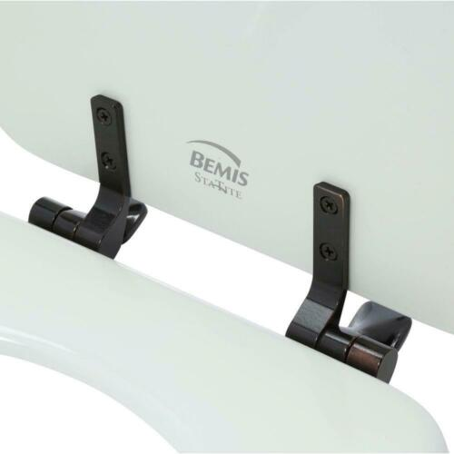 Toilet Seat Round Closed Front White Non-Tarnish Oil Rubbed Bronze Metal Hinge