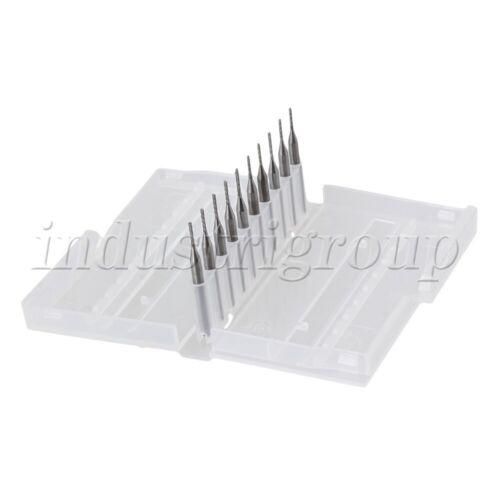 10Pcs Carbide End Mill Engraving Bits CNC PCB Cutting Tools