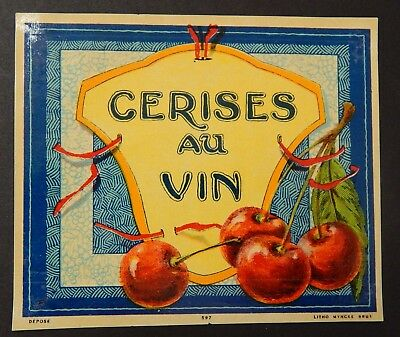 Labels Ambitious French Wine Label Cerises Au Vin 1920's Bind3#02 For Fast Shipping