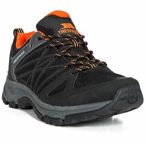 Trespass-Fisk-Mens-Durable-Low-Cut-Black-Trainers-for-Hiking-Trekking
