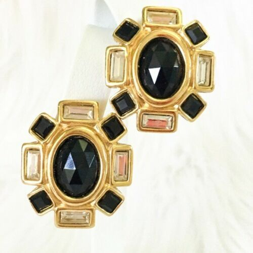 Vintage Givenchy Earrings Black Crystal Runway Cli
