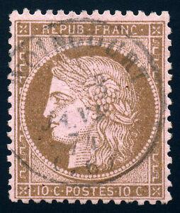 France  Ceres 1873 10 Cent Bister/ Rose SC# 55  Yv 58