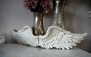 Pair Small White Angel Feather Wings Rustic Ornate Hanging
