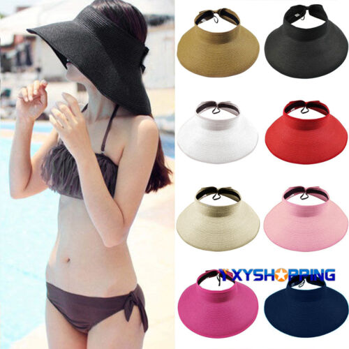 Womens Wide Brim Sun Visor Hat Foldable Roll Up Beach Holiday Summer Straw Cap