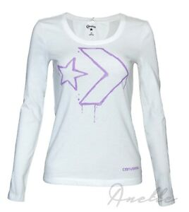 417e59749 CONVERSE Star Chevron New Womens Girls Long Sleeve Top White Cotton ...