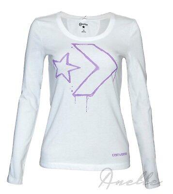 CONVERSE Star Chevron New Womens Girls Long Sleeve Top White Cotton T Shirt BNWT | eBay