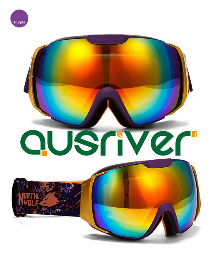 North  Wolf Snow Goggles Large Cycling Glasse Lens Anti Fog Purple  cheap and high quality