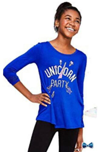 Justice Girls Size 6-7 Unicorn Party Festive Long Sleeve Tee NWT