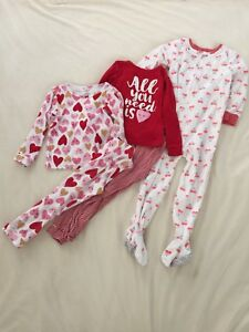 57a43f83818a Carters Toddler Girl Lot 3 Pajamas Two Piece Cotton Knit Snug Fit ...