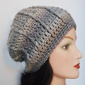 80e6e6400ff Image is loading CROCHET-SLOUCHY-WINTER-BEANIE-HAT-ladies-mens-festival-