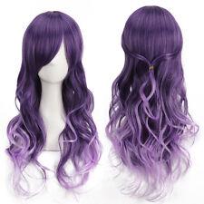 US 70cm Fashion Women's Purple Cosplay Long Curly Cartoon Fiber Hair Wigs