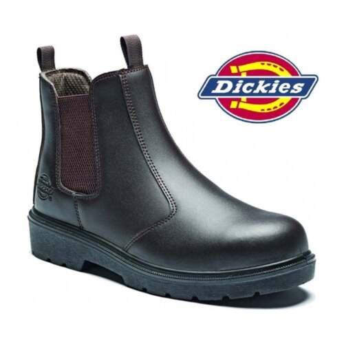 DICKIES SUPER DEALER BOOTS CHELSEA BLACK LEATHER STEEL TOE WORK  Size 7-11