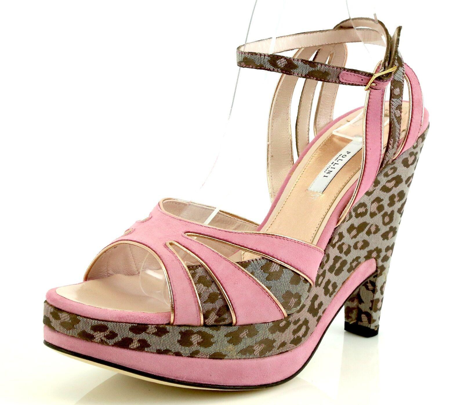in vendita Pollini AEFF Cheetah Print rosa Suede Wedge Sandals 7399 Dimensione Dimensione Dimensione 40 EU NEW   acquistare ora