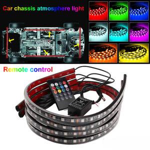 4x-LED-coche-bajo-ambiente-Decorativo-Luz-de-Neon-resplandor-RGB-Tira-Control-Remoto