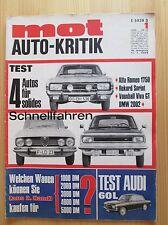 Mot Auto-Kritik Nr. 1/1969, Opel Rekord Sprint, Alfa 1750, BMW 2002, Audi 60 L