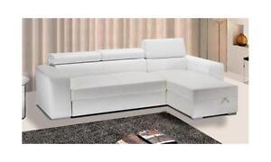 Divano Letto Bianco Ecopelle : Divano letto angolare contenitore in ecopelle bianco sofa soggiorno
