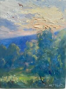 ORIGINAL Impressionism  Oil Painting Hudson Valley Landscape Art Trees Sunset