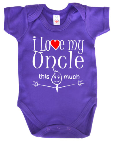 """Funny Baby Bodysuit /""""I Love My Uncle This Much/"""" Babygrow Niece Nephew Gift"""