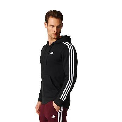 adidas Men's 3 Stripes Full Zip Fitted Hoodie
