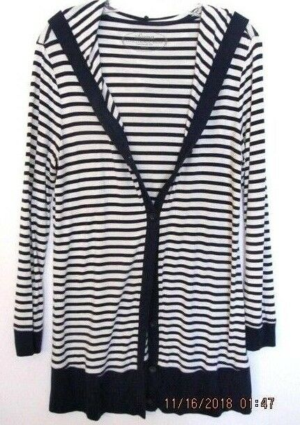 SOMA Women's Lounge Striped Nautical Long Hooded Cardigan Navy White Size M