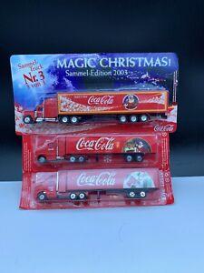 Coca-Cola-Weihnachtstrucks-Truck-3-Pc-Unbenutzt-Top-Zustand
