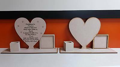 Mdf Heaven Heart with open photo frame plinth /& Tealighter Cube