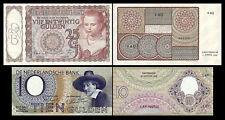 2x 10, 25 niederländische Gulden - Ausgabe 1943 - 1944 - 4 alte Banknoten - 08