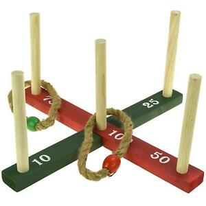 Kids-Classic-Quoits-Ring-Toss-Rope-Pegs-Hoopla-Wooden-Outdoor-Family-Garden-Game