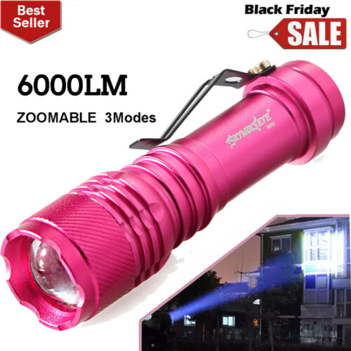 6000LM ZOOMABLE Flashlight LED 3Mode AA//14500 Torch Lamp Super Bright Light
