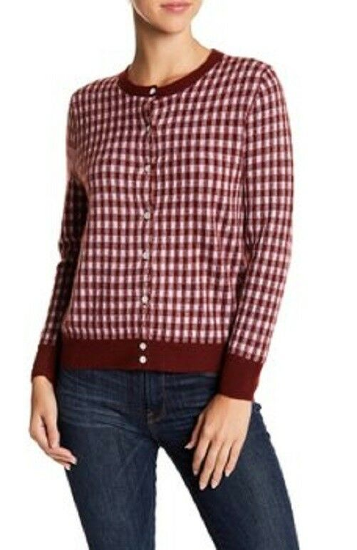 J Crew Collection Italian Featherweight Cashmere Cardigan Sweater Gingham S NEW