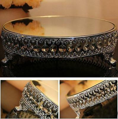 12inch Round Silver Metal Acrylic Crystal Strand Mirror Wedding Party Cake Stand