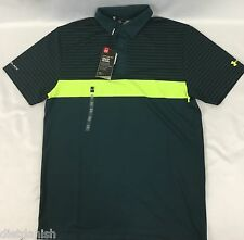 Under Armour MEN'S Athletic Golf Polo Loose HeatGear ColdBlack Dark Green Size M