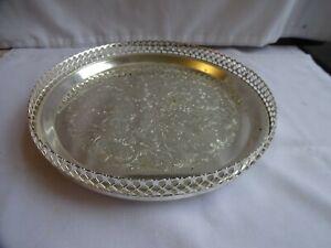 Vintage plaqué argent chassé ronde petite galerie plateau diamètre 23 cm