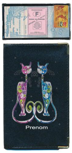Pochette Etui Porte Carte Grise Couple chat noir personnalise avec un prenom
