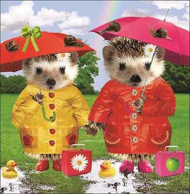 Rainy Days Square Greeting Card Scream Animal Humour Photo Cards Blank Inside
