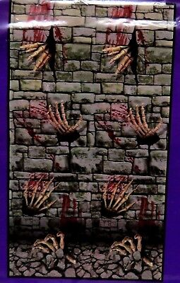 "Halloween Wall Decor Cemetery Skeletons 42"" x 72"" Plastic Mural Brick Dungeon"