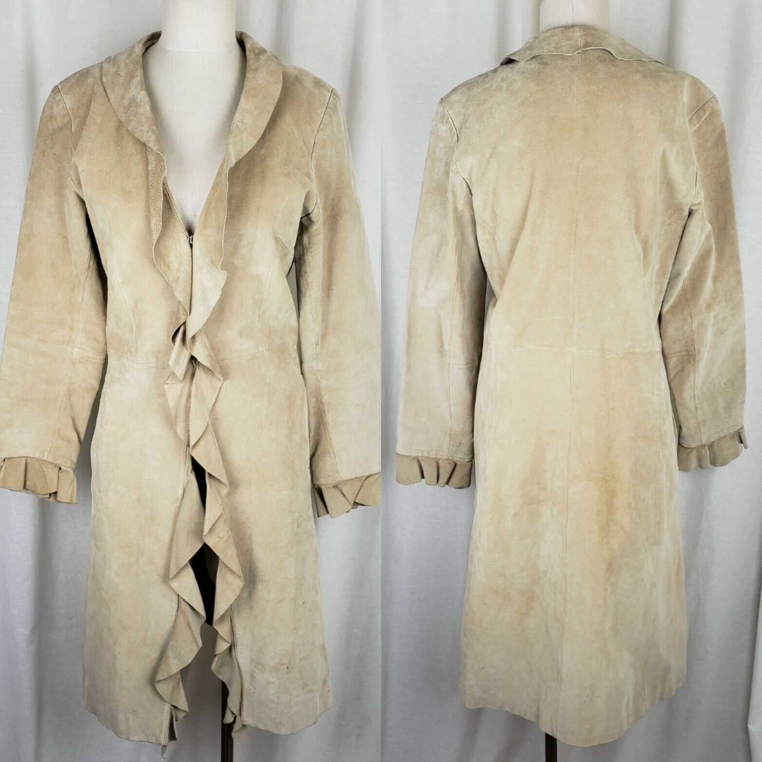 Boston Proper Brushed Leather Ruffled Maxi Duster Long Trench Coat Womens 8 Tan