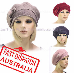 Ladies-Woman-20s-Fashion-Wool-Slouchy-Chemo-Headcover-Beanie-French-Beret-Hat