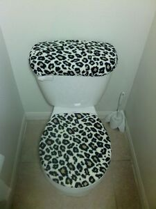 Fan Apparel & Souvenirs Sports Mem, Cards & Fan Shop Cheetah Print Fleece Fabric Toilet  Seat Cover Bathroom Accessories Set