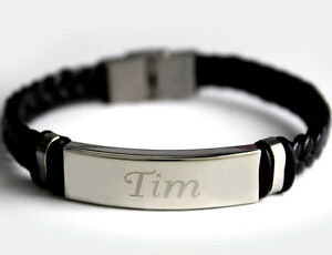 Image Is Loading TIM Mens Bracelet With Name Leather Braided Dad