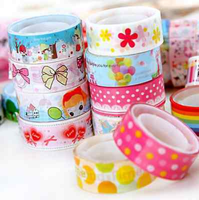 10Pcs Lovely Adhesive Sticker Decorative Washi Tape Paper Sticky 1.5cm*3 Meter