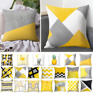 Details About 18 Geometric Yellow Cushion Cover Home Decor Sofa Throw Square Pillow Cases In