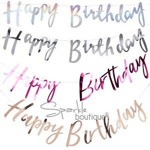 039-HAPPY-BIRTHDAY-039-BUNTINGS-Foiled-Garlands-Banners-Party-Decorations-5-Colours