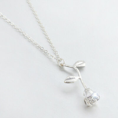 Rose Necklace Beauty and the Beast Final Rose Flower Rose Gold Silver Pendant