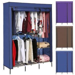 "68.3"" Portable Closet Wardrobe Fabric Clothes Rack Storage Organizer With Shelf"